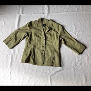 Eileen Fisher blazer olive green sz:XS cotton